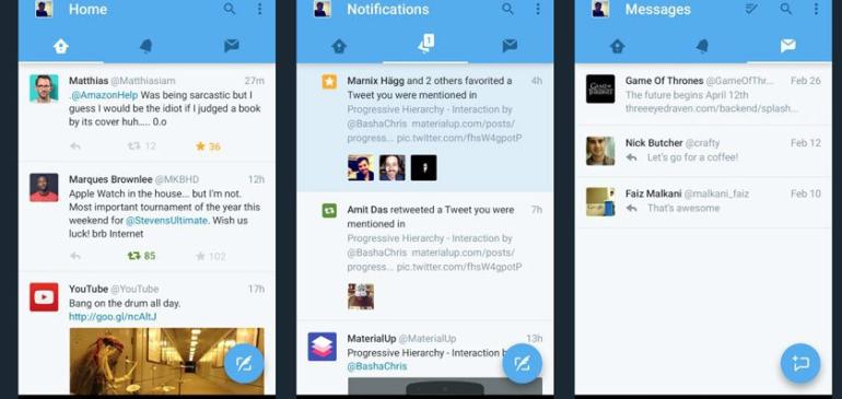 Twitter lanza rediseño en Android